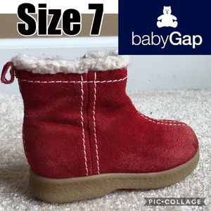 Baby Gap Rust Red Suede Leather Boots Size 7